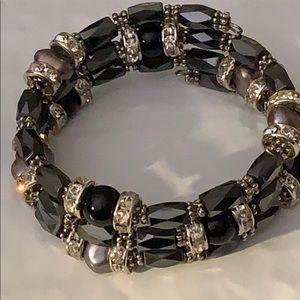 Jewelry - HEMATITE, ONYX, PEARL & RHINESTONE COIL BRACELET